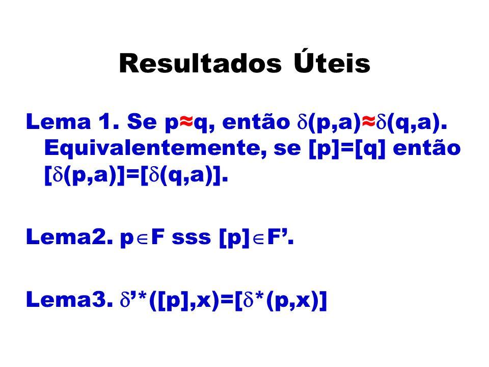 Resultados Úteis Lema 1. Se p≈q, então d(p,a)≈d(q,a). Equivalentemente, se [p]=[q] então [d(p,a)]=[d(q,a)].